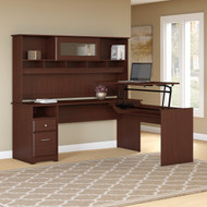"Bush Cabot Collection L-Shaped Sit to Stand Desk with Hutch 72""W 3 Position Harvest Cherry - CAB052HVC"