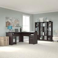 """Bush Cabot Collection L-Shaped Desk 60""""W with 16-Cube Bookcase Espresso Oak - CAB013EPO"""