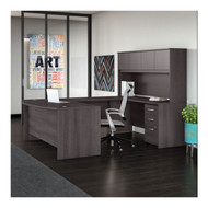 "Bush Business Furniture Studio C Bow Front U-Shaped Desk with Hutch 72"" Storm Gray - STC003SG"