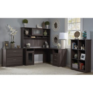 """Bush Cabot Collection L-Shaped Desk 60"""" Package Heather Gray - CAB003HRG"""