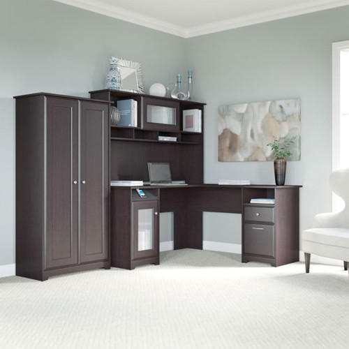 Bush Cab017epo Cabot L Shaped Desk With Hutch And Tall