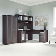 """Bush Cabot Collection L-Shaped Desk with Hutch and Tall Cabinet 60""""W Espresso Oak - CAB017EPO"""