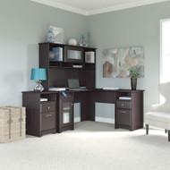 "Bush Cabot Collection L-Shaped Desk with Hutch and 2-Drawer Pedestal 60""W Espresso Oak - CAB018EPO"