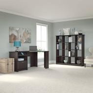 """Bush Cabot Collection Corner Desk with 16-Cube Bookcase 60""""W Espresso Oak - CAB019EPO"""