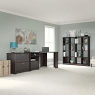 """Bush Cabot Collection Corner Desk with 16-Cube Bookcase and Lateral File 60""""W Espresso Oak - CAB020EPO"""