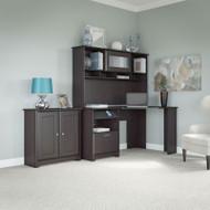 """Bush Cabot Collection Corner Desk with Low Cabinet 60""""W Espresso Oak - CAB022EPO"""