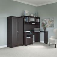"""Bush Cabot Collection Corner Desk with Tall Cabinet 60""""W Espresso Oak - CAB023EPO"""