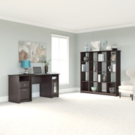 "Bush Cabot Collection Single Pedestal Desk Package with 16-Cube Bookcase 48""W Espresso Oak - CAB031EPO"