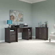 "Bush Cabot Collection Single Pedestal Desk Package with Low Storage Cabinet  48""W Espresso Oak - CAB032EPO"