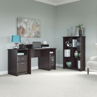 "Bush Cabot Collection Single Pedestal Desk Package with 6-Cube Bookcase 48""W Espresso Oak - CAB033EPO"