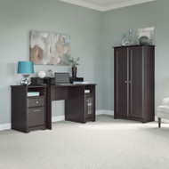 "Bush Cabot Collection Single Pedestal Desk Package with Tall Storage Cabinet 48""W Espresso Oak - CAB034EPO"