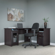 "Bush Cabot Collection L-Shaped Desk 60""W with Chair Espresso Oak - CAB039EPO"