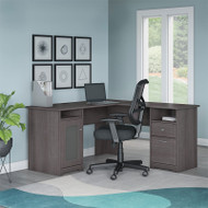 "Bush Cabot Collection L-Shaped Desk 60""W with Chair Heather Gray - CAB039HRG"