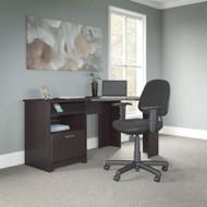 """Bush Cabot Collection Corner Desk 60""""W with Chair Espresso Oak - CAB040EPO"""