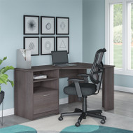 """Bush Cabot Collection Corner Desk 60""""W with Chair Heather Gray - CAB040HRG"""