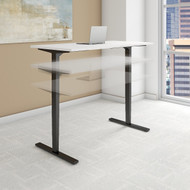 Bush Move 80 Series 60W x 30D Height Adjustable Standing Desk in White with Black Base - HAT6030WHBK
