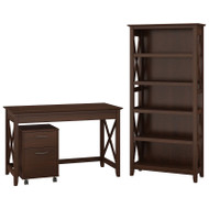 "Bush Key West 48""W Writing Desk with 2 Drawer Mobile Pedestal and 5 Shelf Bookcase - KWS002BC"