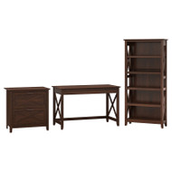 Bush Key West 48W Writing Desk with Lateral File and Bookcase - KWS004BC