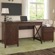 "Bush Key West 54""W Single Pedestal Desk with 2 Drawer Mobile Pedestal - KWS006BC"