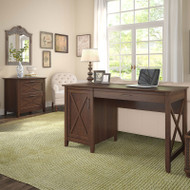 Bush Key West 54W Single Pedestal Desk with Lateral File - KWS008BC
