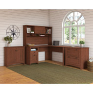 Bush Furniture Buena Vista L-Shaped Desk with Storage and Filing, Serene Cherry - BUV040SC