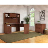 Bush Furniture Buena Vista L-Shaped Desk with Hutch and Lateral File, Serene Cherry - BUV005SC