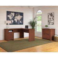 Bush Furniture Buena Vista L-Shaped Desk with Lateral File, Serene Cherry - BUV038SC