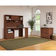 Bush Furniture Buena Vista Corner Desk with Hutch and Lateral File, Serene Cherry - BUV007SC