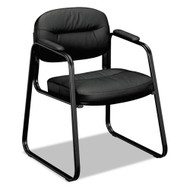 HON VL653 Series Guest Side Chair Black SofThread Leather - VL653SB11