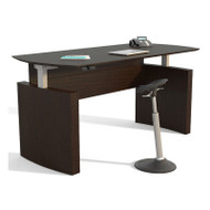 "Mayline Medina Laminate Height Adjustable Executive Desk 63"" Mocha - MNDHA63-LDC"