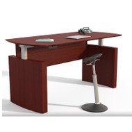 "Mayline Medina Laminate Height Adjustable Executive Desk 63"" Mahogany- MNDHA63-LMH"