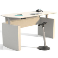"Mayline Medina Laminate Height Adjustable Executive Desk 63"" Textured Sea Salt - MNDHA63-TSS"