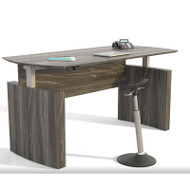 "Mayline Medina Laminate Height Adjustable Executive Desk 63"" Grey Steel - MNDHA63-LGS"