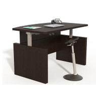"Mayline Aberdeen Laminate Height Adjustable Executive Bow Front Desk 72"" Mocha - ABDH7242-LDC"