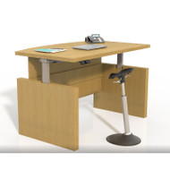 "Mayline Aberdeen Laminate Height Adjustable Executive Bow Front Desk 72"" Maple - ABDH7242-LMA"