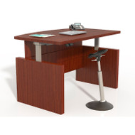 "Mayline Aberdeen Laminate Height Adjustable Executive Bow Front Desk 66"" Cherry - ABDH6642-LCR"