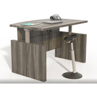"Mayline Aberdeen Laminate Height Adjustable Executive Bow Front Desk 66"" Gray Steel  - ABDH6642-LGS"