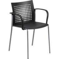 Flash Furniture Black Stack Chair with Air-Vent Back and Arms - RUT-1-BK-GG
