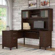 Bush Furniture Somerset 60W L-Shaped Desk w Hutch Mocha Cherry - SET002MR