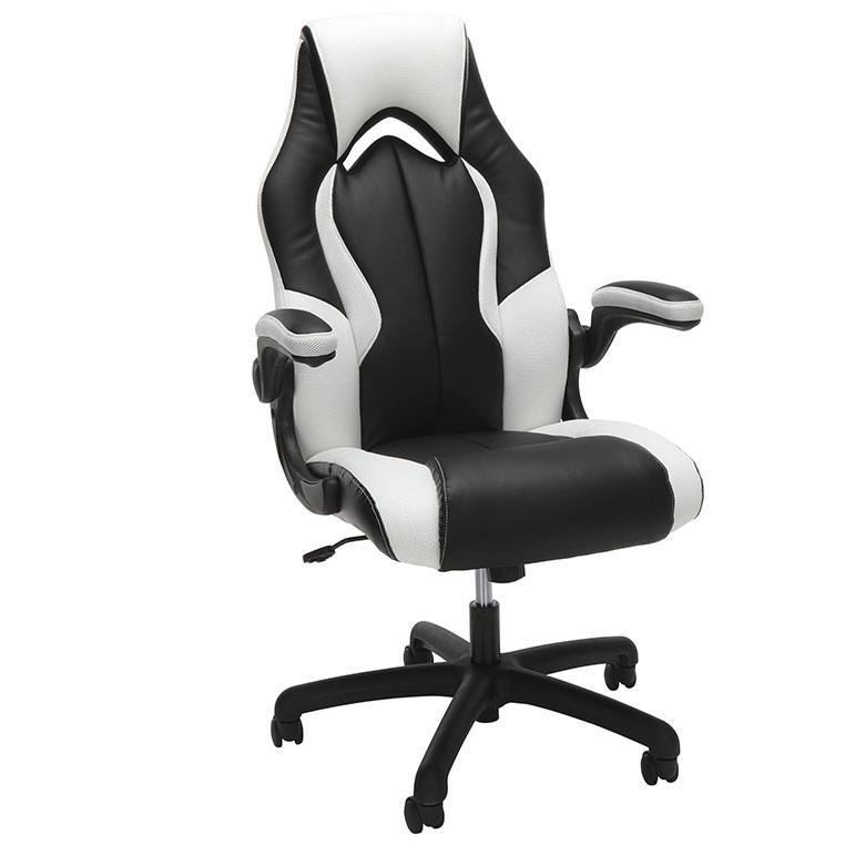 Terrific Ofm Essentials Racing Style Leather Gaming Chair White Ess 3086 Wht Uwap Interior Chair Design Uwaporg