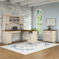 Bush Furniture Fairview L Shaped Desk w Hutch and Lateral File Cabinet Antique White - FV003AW