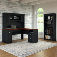 Bush Furniture Fairview L Shaped Desk w Hutch and 5 Shelf Bookcase Antique Black - FV005AB