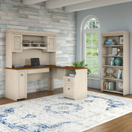 Bush Furniture Fairview L Shaped Desk w Hutch and 5 Shelf Bookcase Antique White - FV005AW