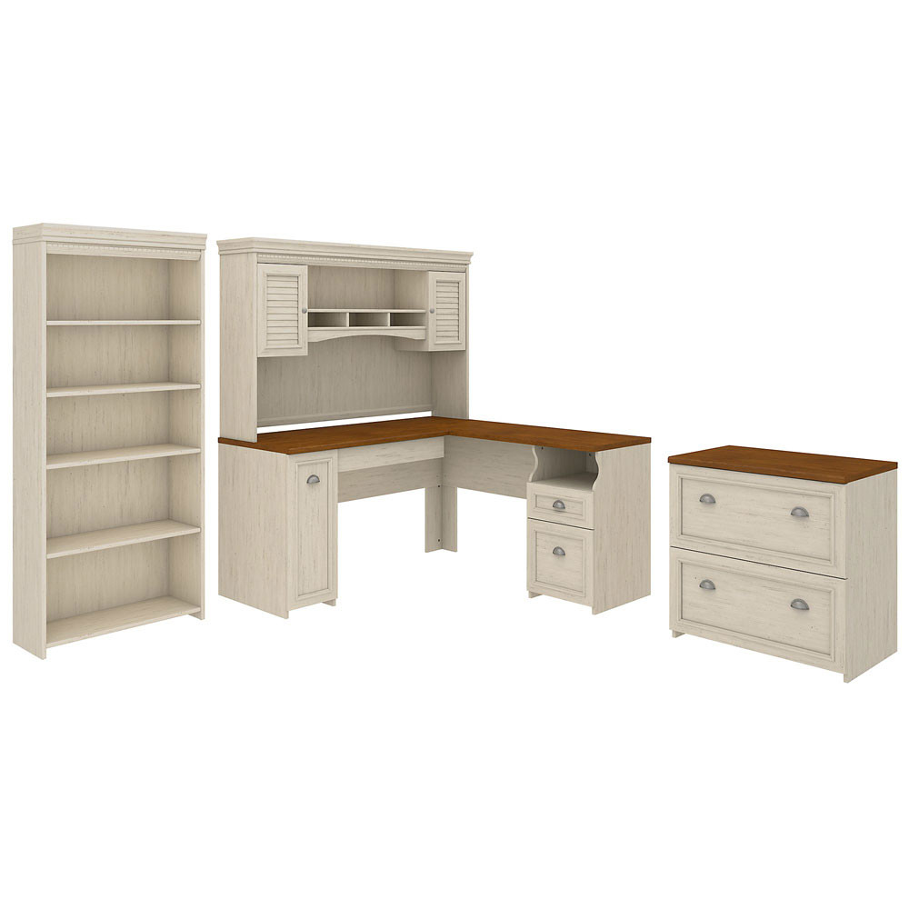 Bush Furniture Fairview L Shaped Desk w Hutch, Bookcase and Lateral File  Cabinet Antique White - FV43AW
