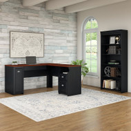 Bush Furniture Fairview L Shaped Desk and 5 Shelf Bookcase Antique Black - FV007AB
