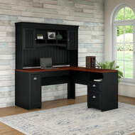 Bush Furniture Fairview L Shaped Desk with Hutch in Antique Black - FV004AB