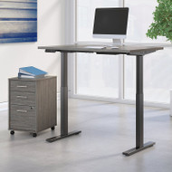 Bush Business Furniture Move 60 Series Height Adjustable Standing Desk w Storage Cocoa w Black Base 48 x 30 - M6S004COSU