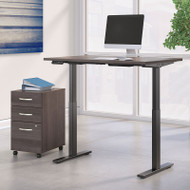 Bush Business Furniture Move 60 Series Height Adjustable Standing Desk w Storage Storm Gray 48 x 30 - M6S004SGSU