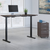 Bush Business Furniture Move 60 Series Height Adjustable Standing Desk w Storage Storm Gray 60 x 30 - M6S005SGSU
