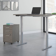 Bush Business Furniture Move 60 Series Height Adjustable Standing Desk w Storage Cocoa w Gray Base 48 x 30 - M6S010COSU